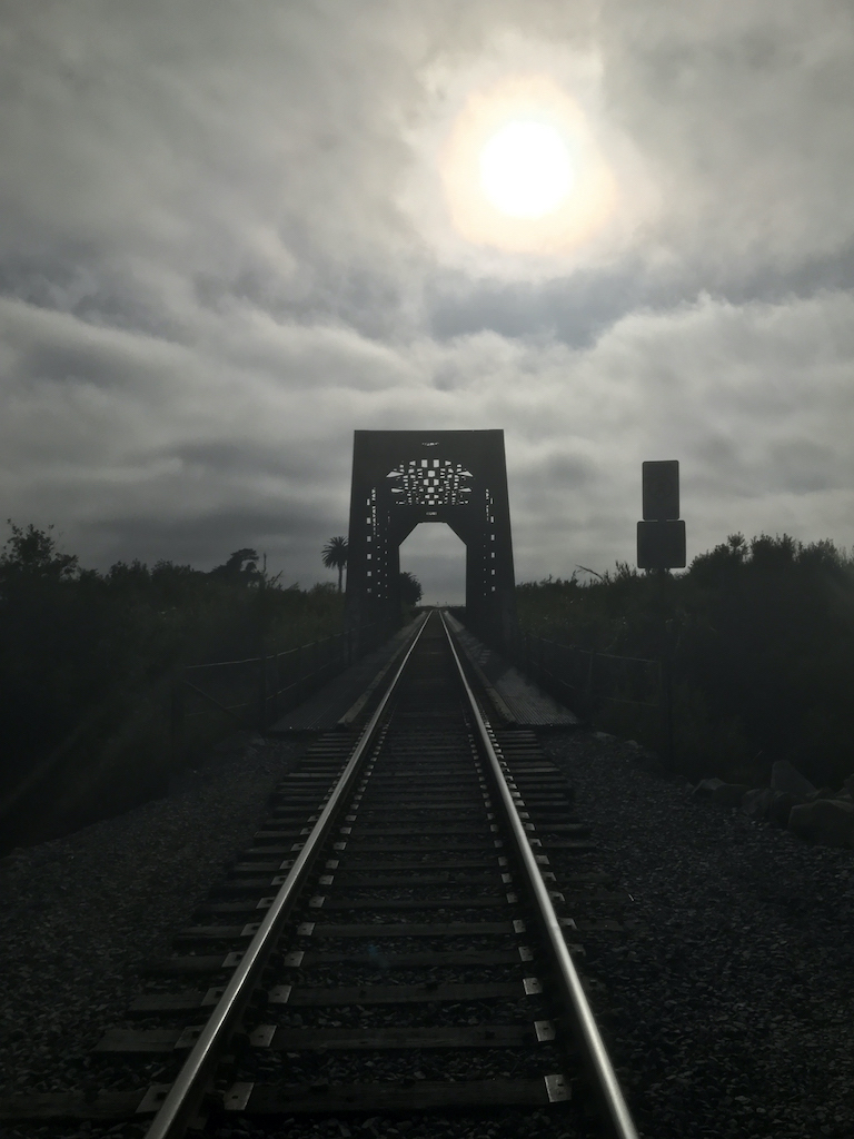 Train bridge across the Ventura River Estuary